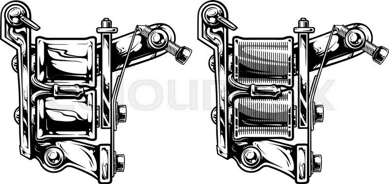 800x379 Graphic Detailed Black And White Tattoo Machine Vector Set. Vol. 2