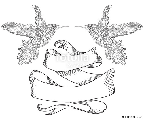 500x417 Hummingbird With Floral Ornament And Vintage Ribbon. Tattoo Art