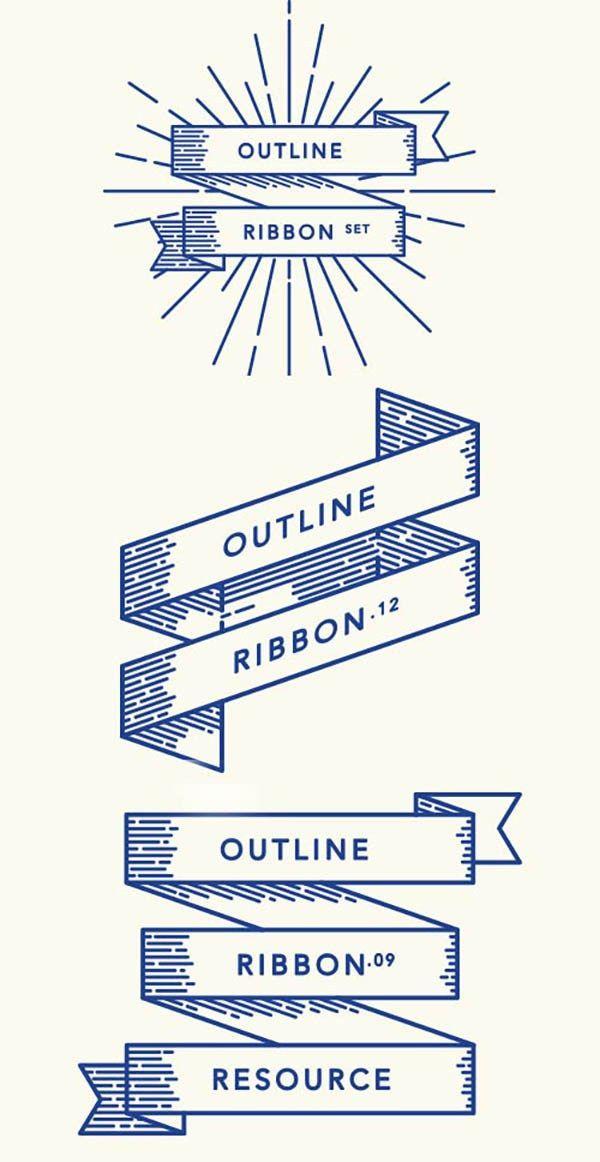 600x1162 Retro Outline Ribbon Vector Set Inspiring Tattoo Ideas