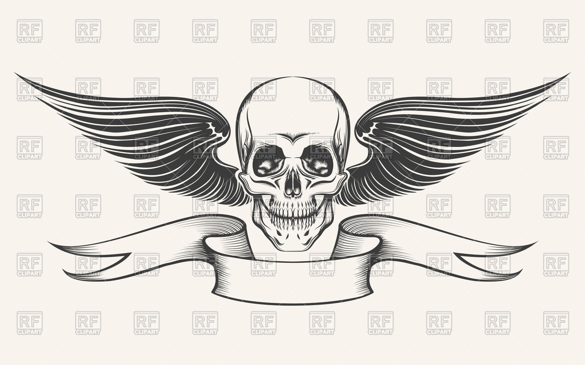1200x750 Skull With Wings And Ribbon Vector Image Vector Artwork Of