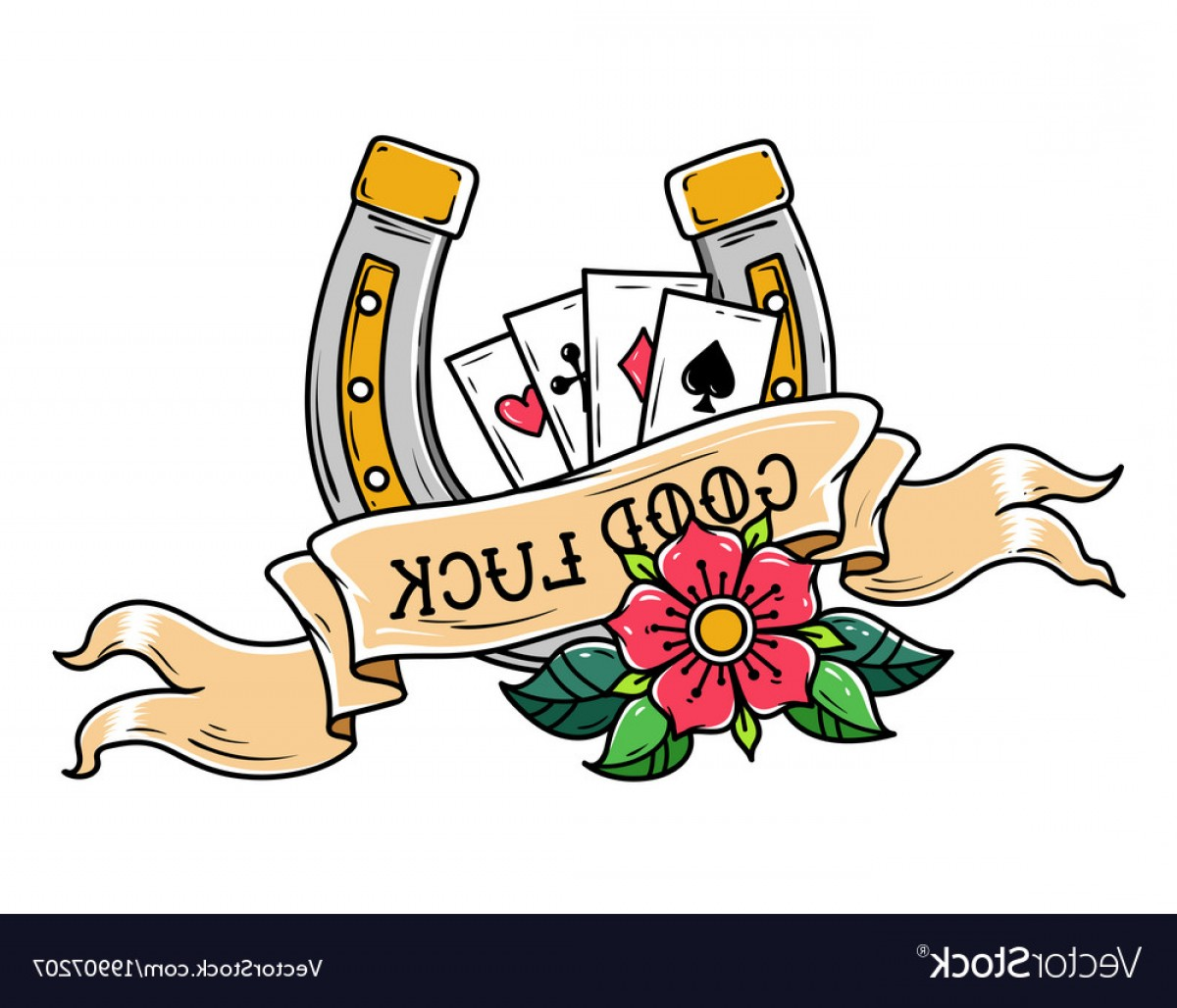 1200x1028 Tattoo Horseshoe Ribbon Flower And Playing Cards Vector Shopatcloth