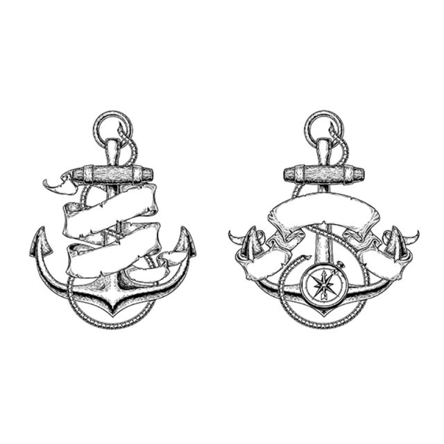 640x640 Vector Illustrations Of Nautical Anchors With Ribbon, Anchor