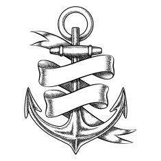 235x235 Vector Hand Drawn Anchor Sketch With Blank Ribbon Vector Art