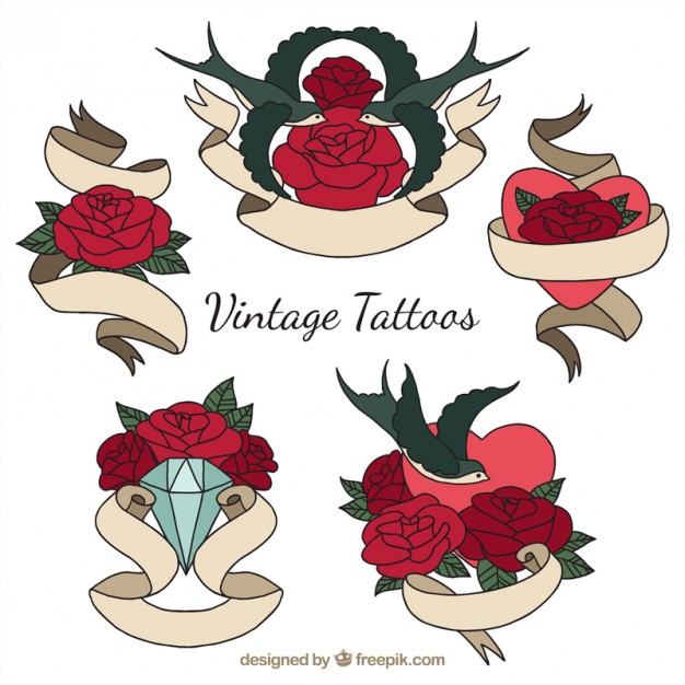 626x626 Vintage Tattoos With Roses And Hand Drawn Ribbons Vector Free