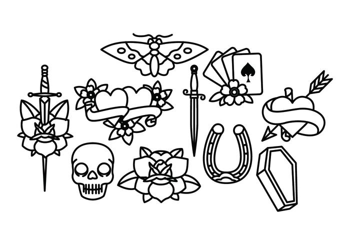 700x490 Old School Tattoo Vector Pack