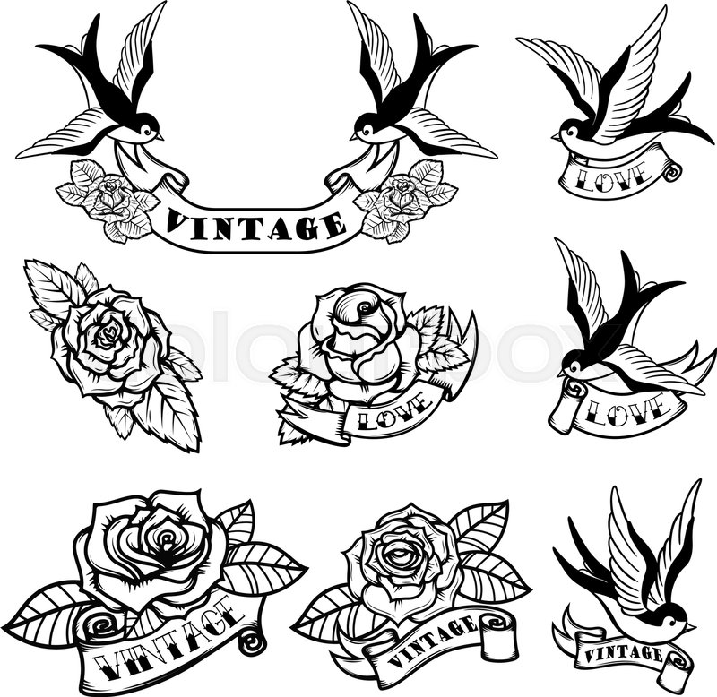 800x778 Set Of Tattoo Templates With Swallows And Roses. Old School Tattoo