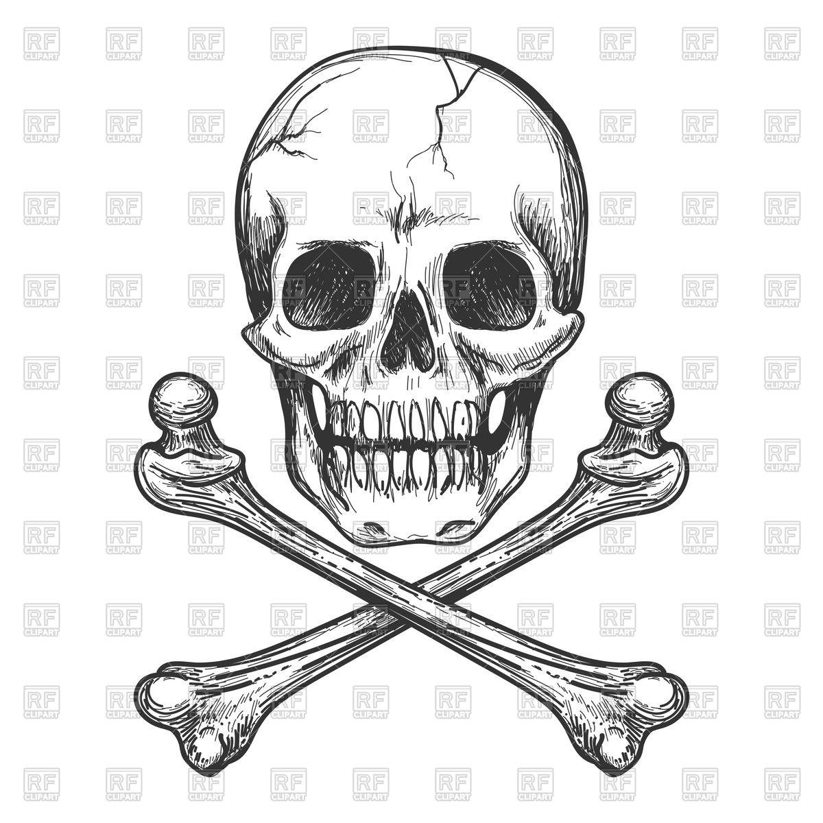 1200x1200 Skull And Crossbones For Tattoo Vector Image Vector Artwork Of