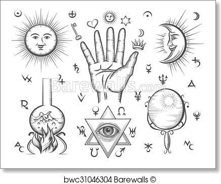 437x364 Art Print Of Alchemy, Spirituality, Occultism, Chemistry, Magic