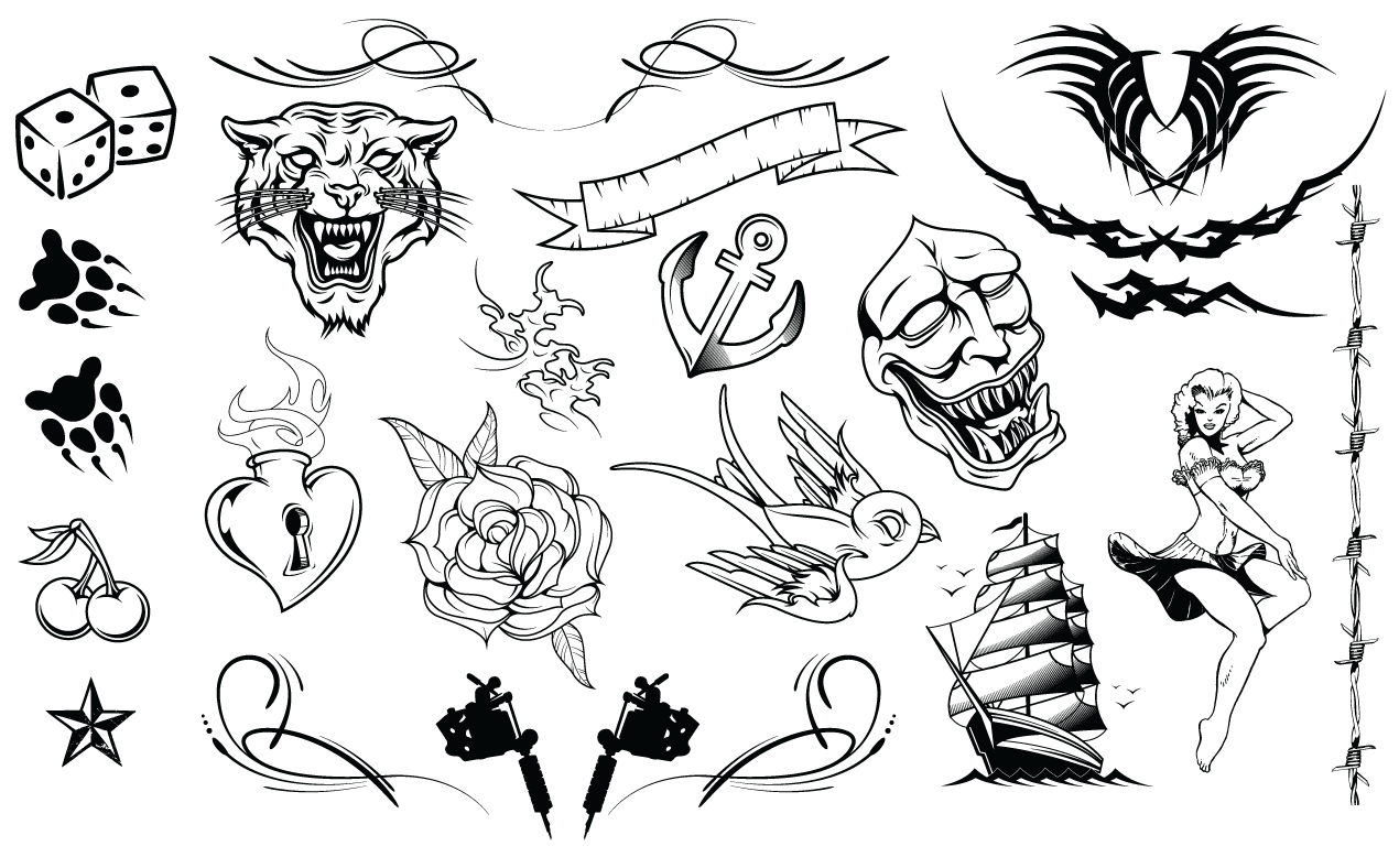 1270x778 Tattoos Vector Pack