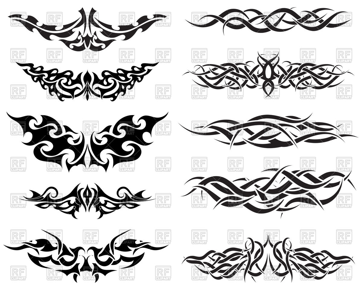 1200x960 Black Patterns Of Tribal Tattoo Vector Image Vector Artwork Of