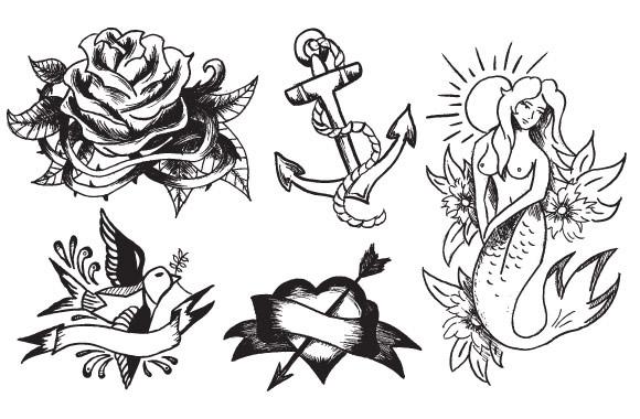 580x380 Vintage Tattoo Vector Pack For Premium Members