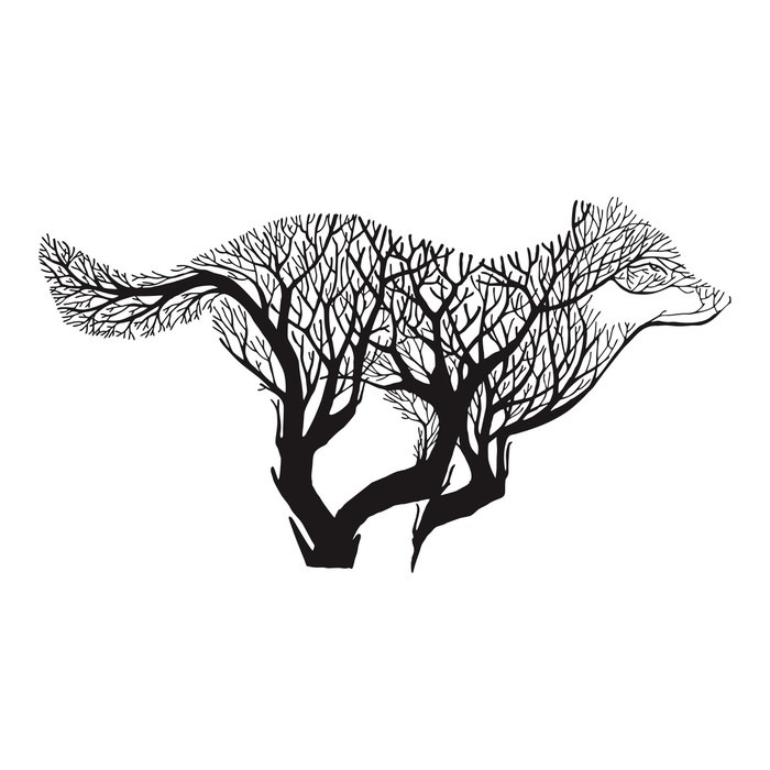 700x700 Wolf Run Silhouette Double Exposure Blend Tree Drawing Tattoo