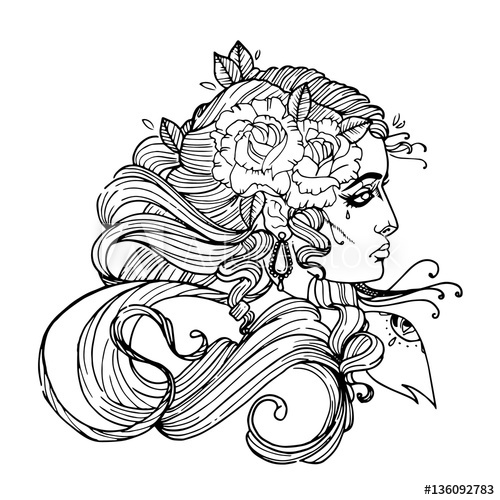 500x500 Woman Face With Curly Hair And Flower. Girl Tattoo Vector Template