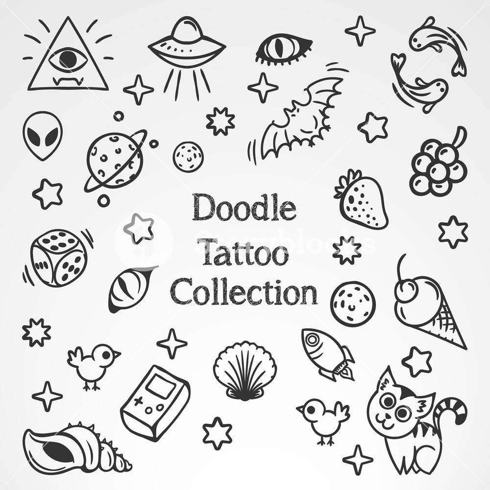 1000x1000 Doodle Tattoo Vector Art Illustration Royalty Free Stock Image