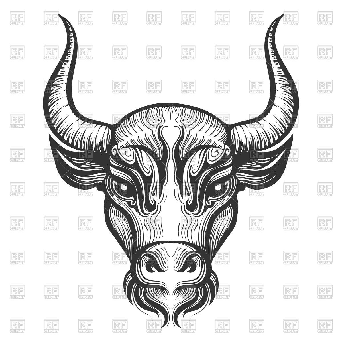 1200x1200 Bull Head Engraving Illustration. Signs Of Zodiac.taurus. Vector