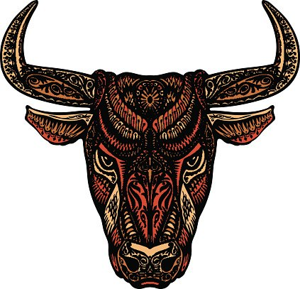 423x407 Ethnic Ornamented Bull Or Minotaur, Vector Illustration Premium