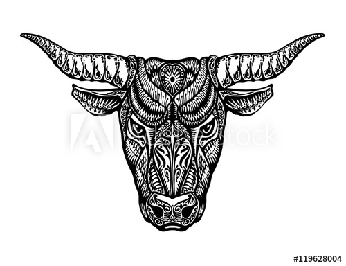 500x384 Ethnic Ornamented Bull, Ox Or Minotaur, Taurus. Vector