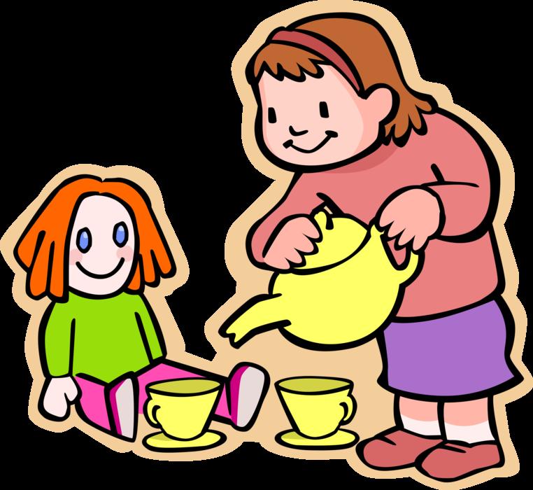 762x700 Girl Serves Tea To Doll
