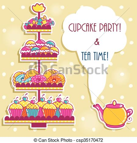 450x470 Sample Cards With A Tea Party And Sweets.