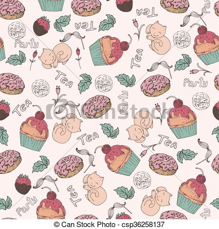 450x470 Seamless Pattern, Tea Party. Beautiful Color Pattern With Cake