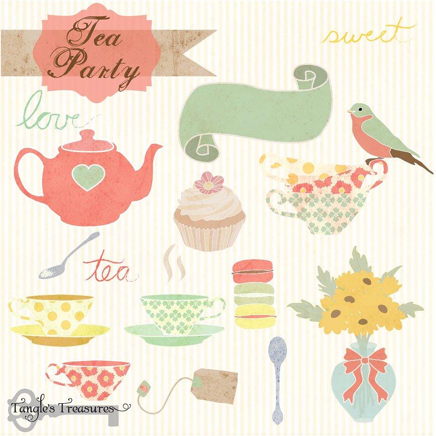866x866 Tea Party Clipart Vector 23