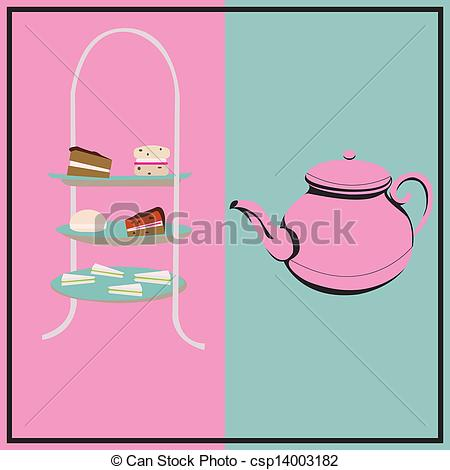 450x470 Afternoon Tea, Vector Retro Background With A Cake Stand And A