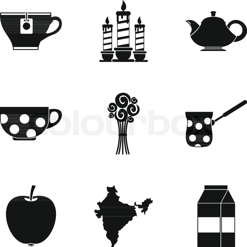 800x800 Tea Party Icons Set. Simple Set Of 9 Tea Party Vector Icons For