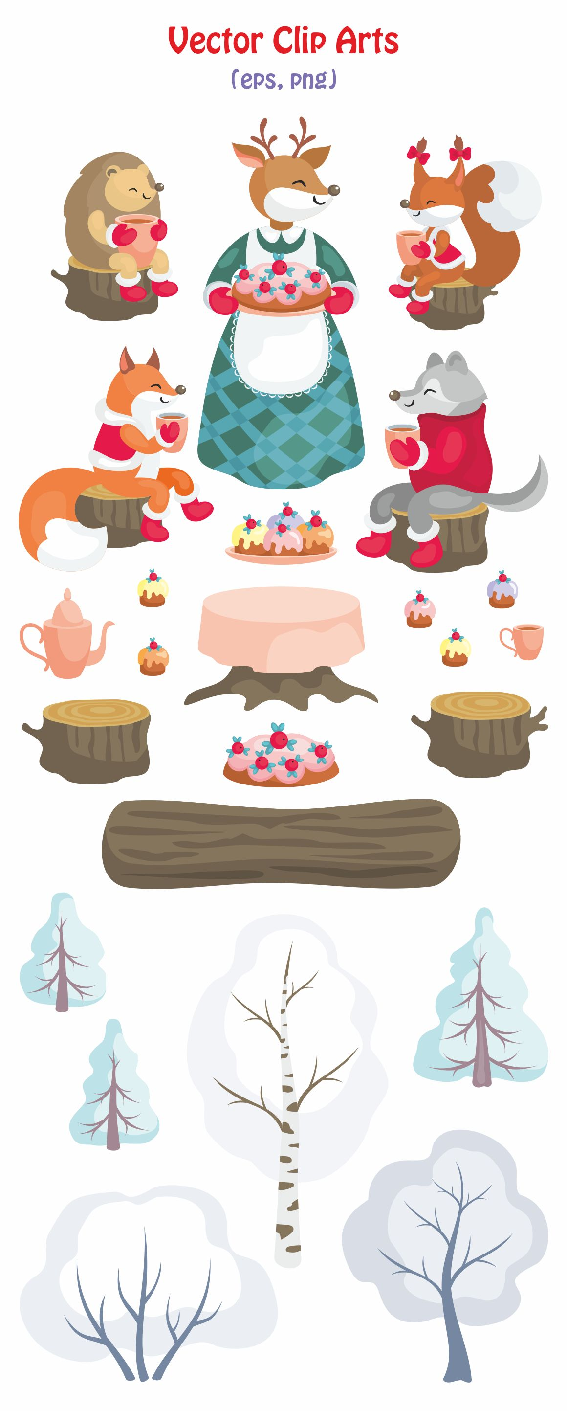 1160x2885 Winter Tea Party. Vector Clip Art. The Hungry Jpeg Graphics