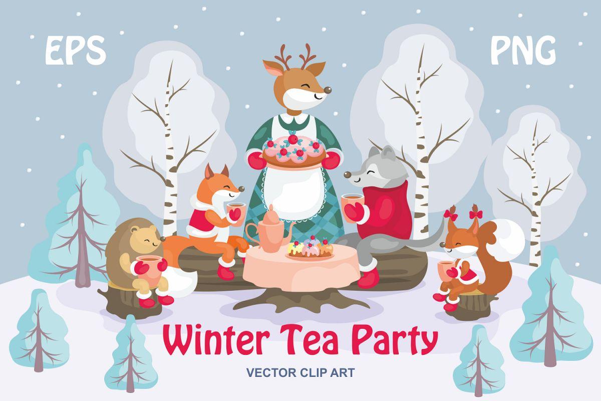 1200x800 Winter Tea Party. Vector Clip Art.