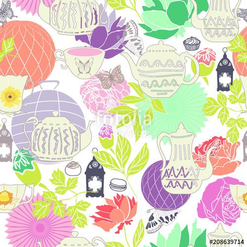 500x500 Vector Pastel Vintage Garden Tea Party Seamless Pattern Background