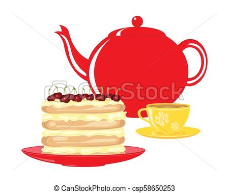 450x379 Afternoon Tea Party. A Vector Illustration In Eps 10 Format Of A