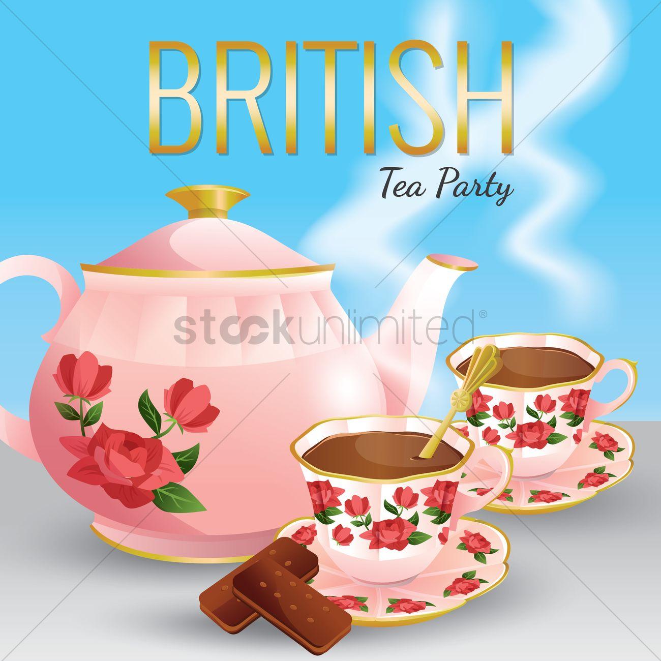 1300x1300 British Tea Party Vector Image