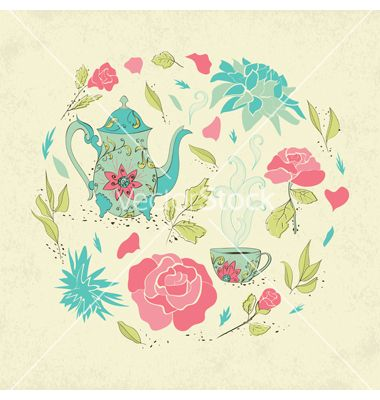 380x400 Card For Tea Party Vector Floral Nature Design By Lidiebug On
