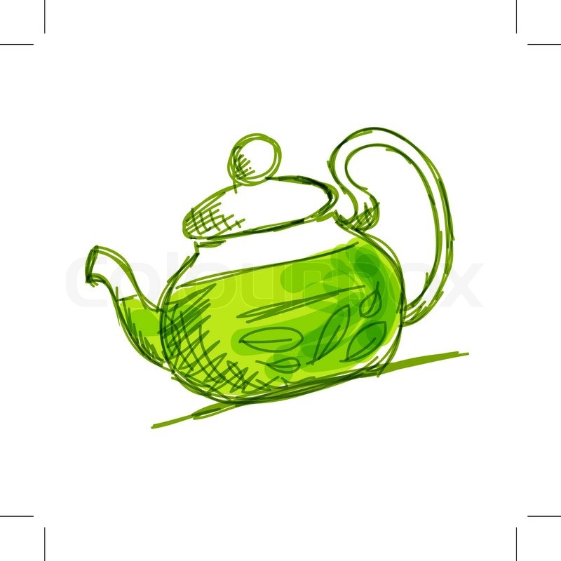 800x800 Teapot Sketch With Green Tea For Your Design Stock Vector