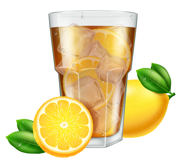 600x557 Lemon With Tea And Ice Cubes Vector Free Download