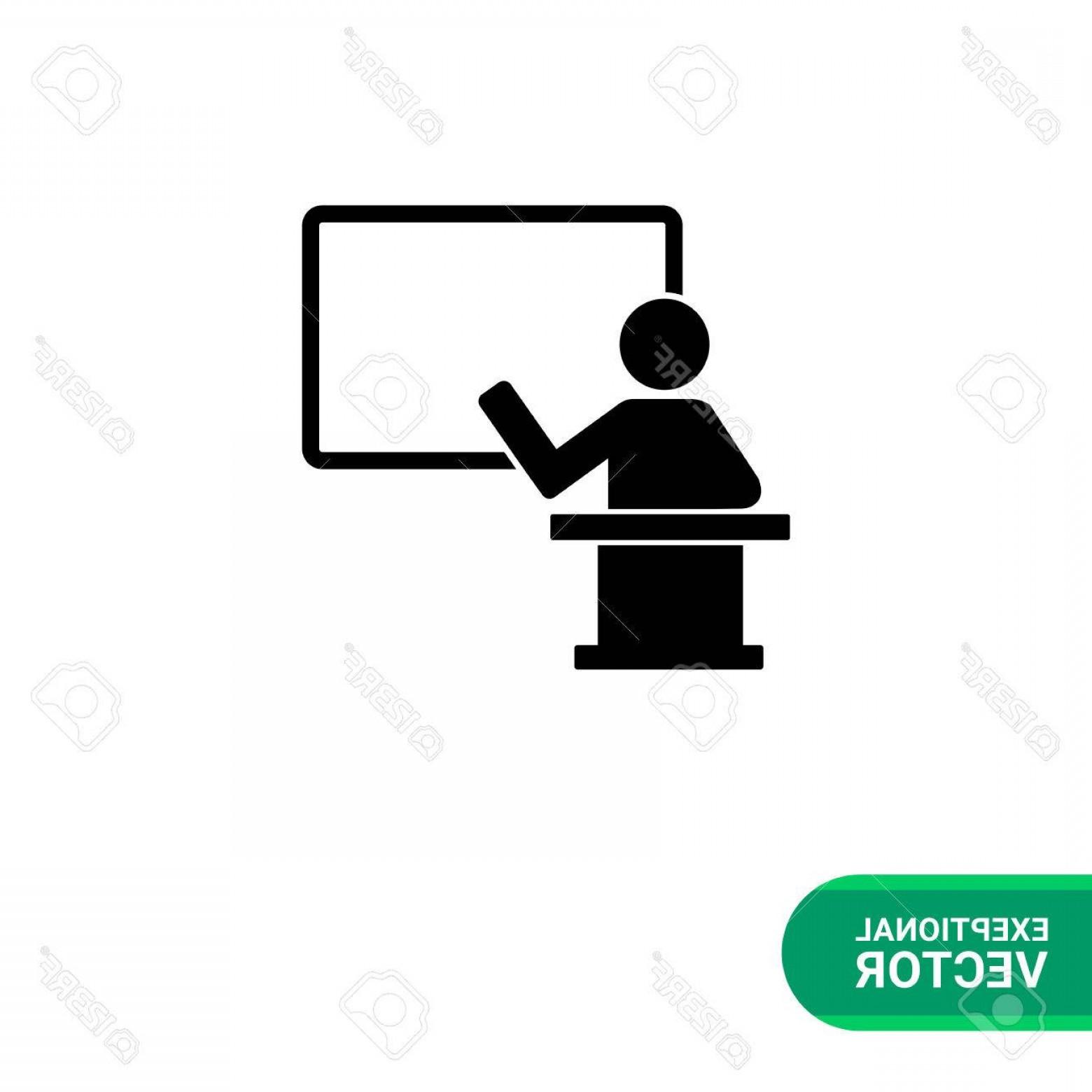 1560x1560 Photostock Vector Monochrome Vector Icon Of Teacher On Rostrum