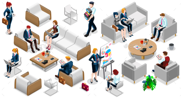 590x321 Isometric People Business Team Icon 3d Set Vector Illustration By
