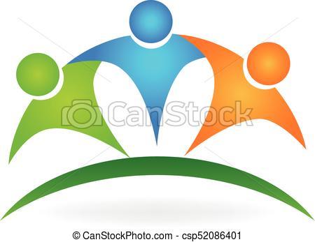 450x347 Happy Friendship People Logo. Happy Team Embraced People Logo
