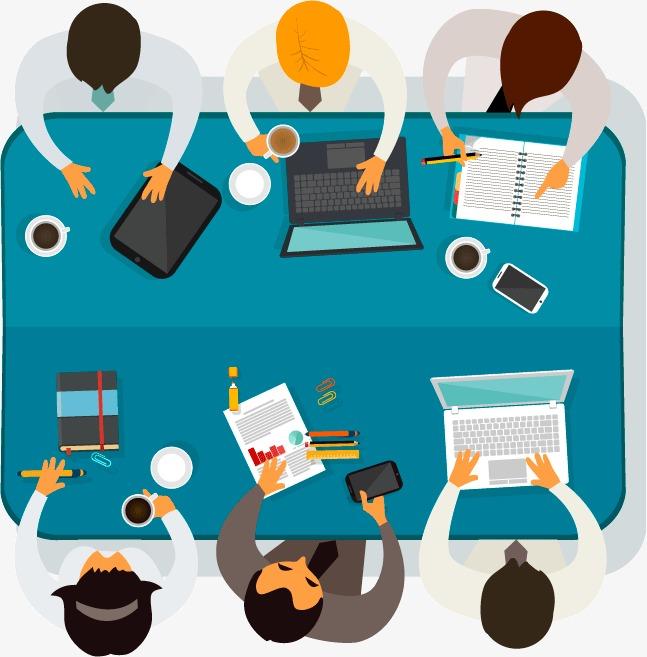 647x657 Team Meeting Plan View Vector Material, Meeting, Team, Business