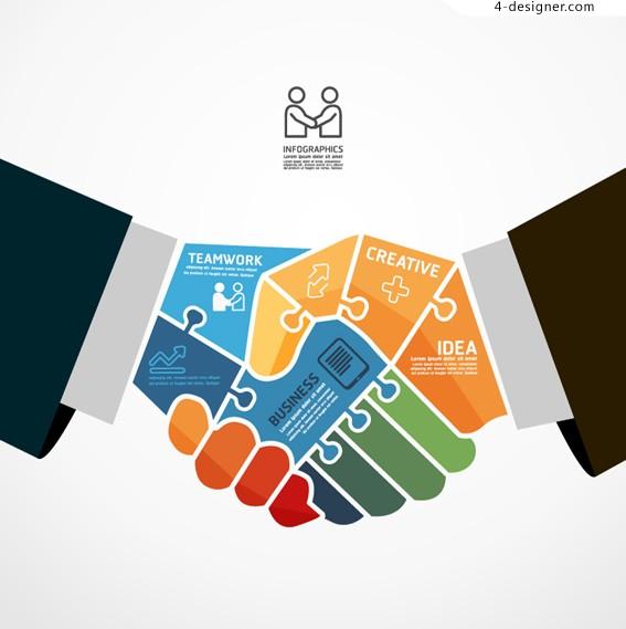 567x569 4 Designer Business Team Information Vector Material