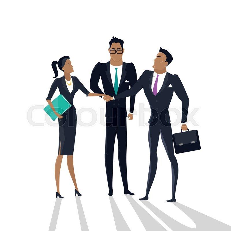 800x800 Teamwork Vector Concept. Flat Design. Gender Equality In Business