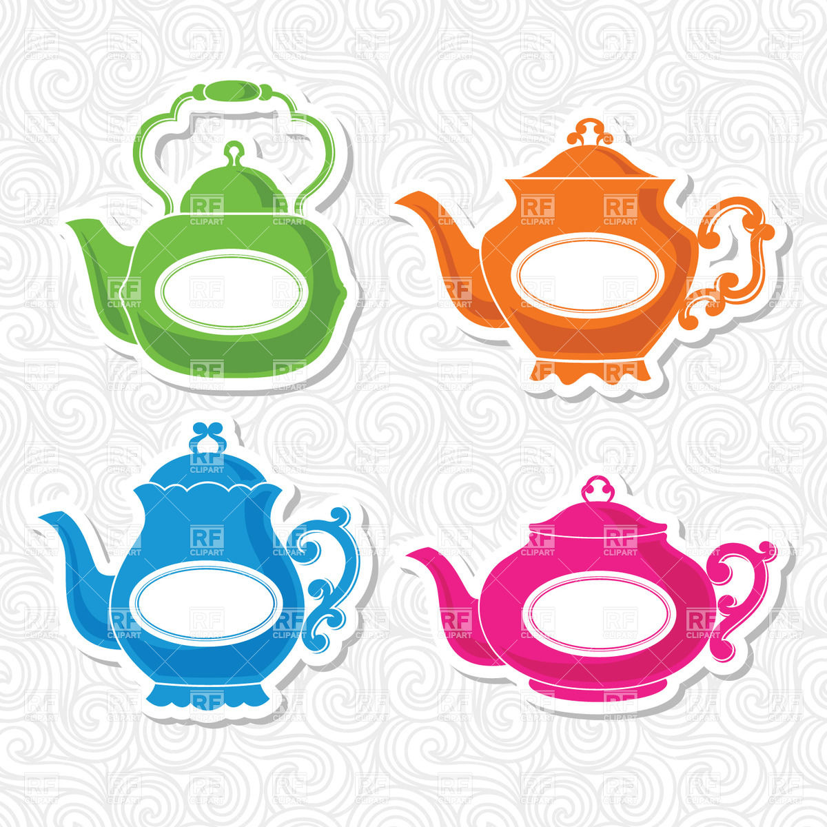 1200x1200 Stickers With Kettle (Teapot) On Ornate Background Vector Image