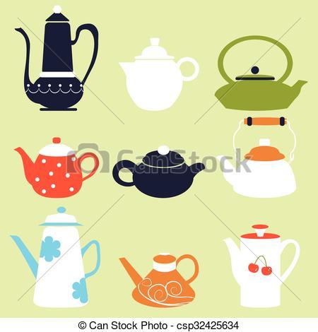 450x470 Tea Coffee Season Autumn Winter Kettle Set Breakfast Teapot Vector