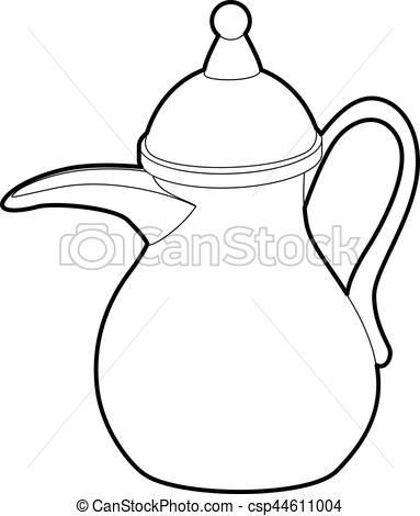 383x470 Teapot Icon, Outline Style. Teapot Icon. Outline Illustration Of