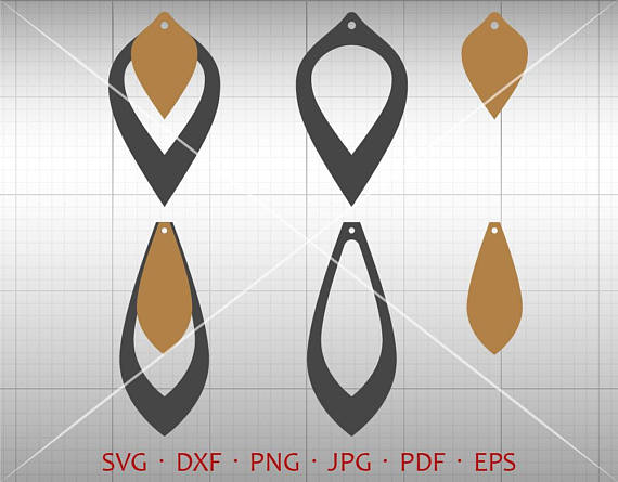 570x445 Stacked Earring Svg, Hollow Out Tear Drop Svg, Pendant Svg