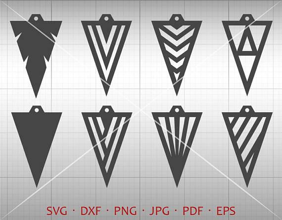 570x445 Triangle Earring Svg, Tear Drop Svg, Arrow Pendant Svg, Teardrop