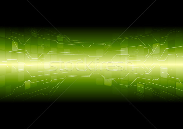 600x424 Tech Green Background With Circuit Board Lines Vector Illustration