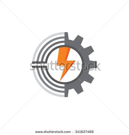450x470 Vector Tech Gear Lines And Lightning Vector Logo Concept