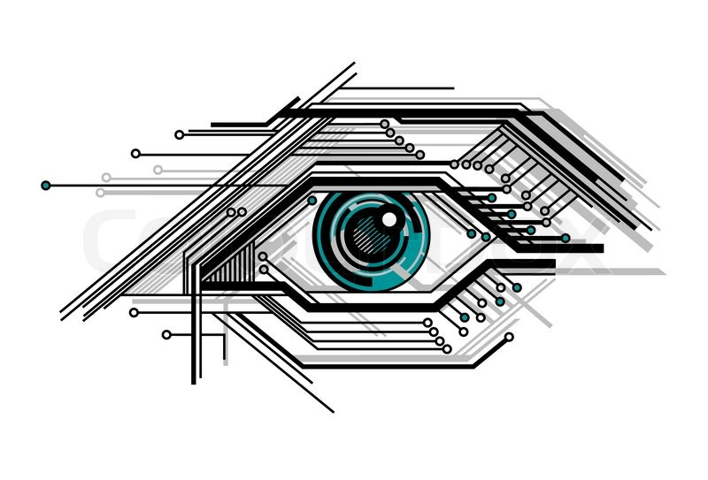 800x543 Abstract Conceptual Tech Stylized Eye Vector Illustration Stock