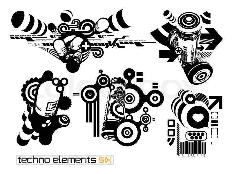 800x600 Techno Elements Six Stock Vector Colourbox